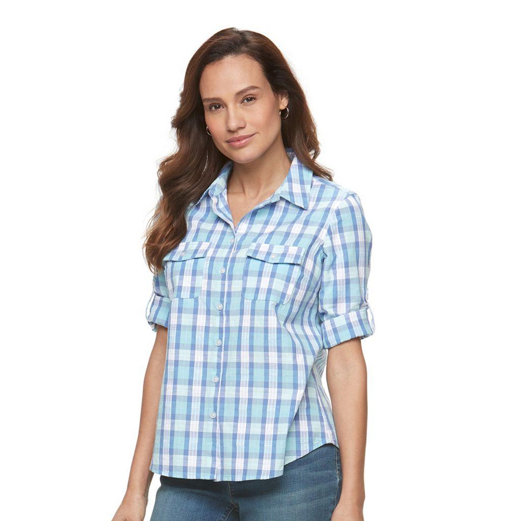 Petite Croft & Barrow® Roll-Tab Shirt