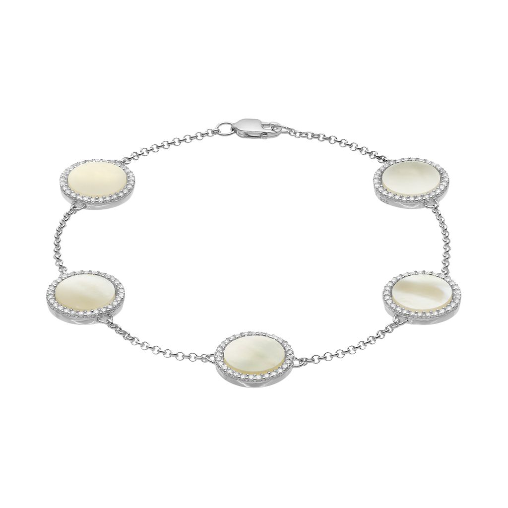Sterling Silver Mother-of-Pearl & Cubic Zirconia Halo Station Bracelet