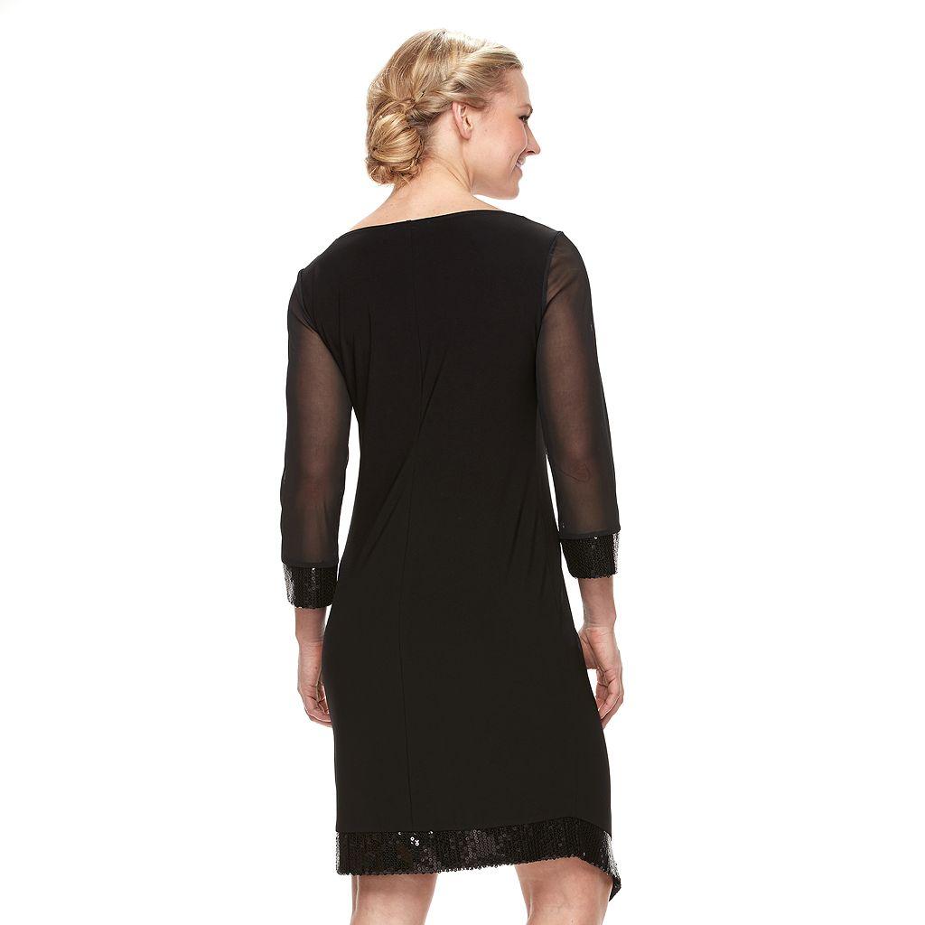 Women's Tiana B Asymmetrical Sequin Shift Dress