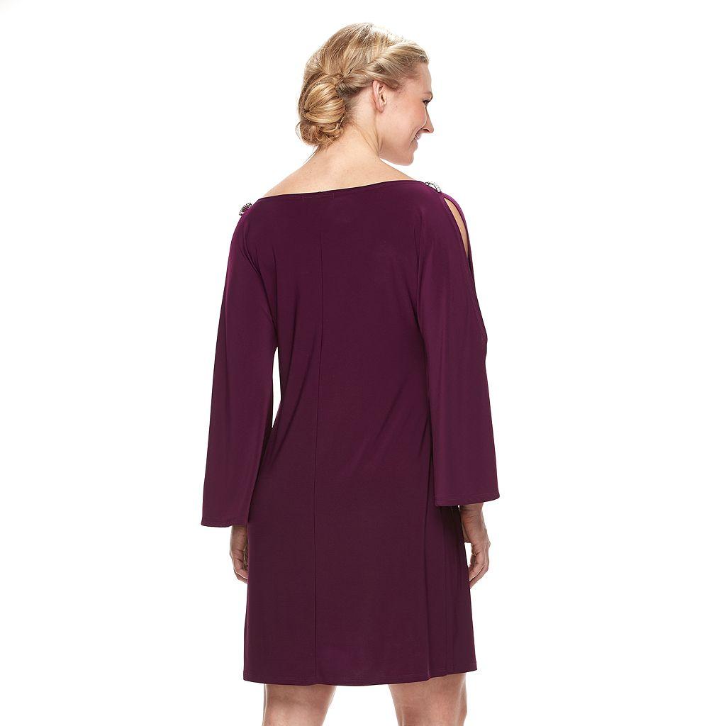 Women's Tiana B Cold-Shoulder Chiffon Shift Dress
