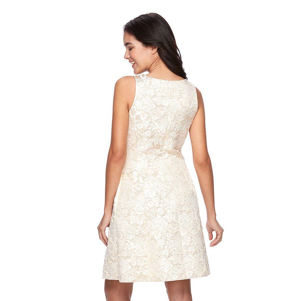 Women's Ronni Nicole Metallic Floral Fit & Flare Dress