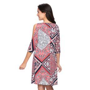 Women's Ronni Nicole Paisley Cold-Shoulder Shift Dress