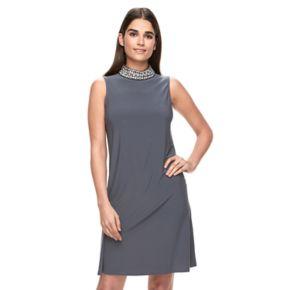 Women's Onyx Nite Embellished Mockneck Shift Dress