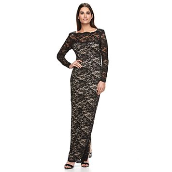 Women's Onyx Nite Illusion Lace Evening Gown