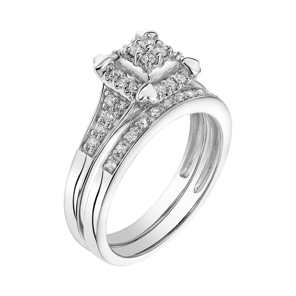 Cherish Always 10k White Gold 1/3 Carat T.W. Square Cluster Engagement Ring Set