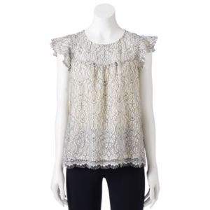 Juniors' Lily Rose Ruffle Sleeve Lace Top