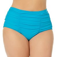 Juniors' Plus Size In Mocean Tummy-Slimmer High-Waisted Bikini Bottoms