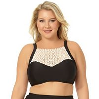 Juniors' Plus Size In Mocean Crochet High-Neck Bikini Top