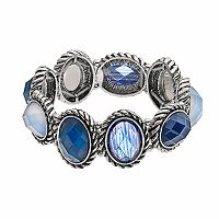 Dana Buchman Blue Faceted Oval Stretch Bracelet