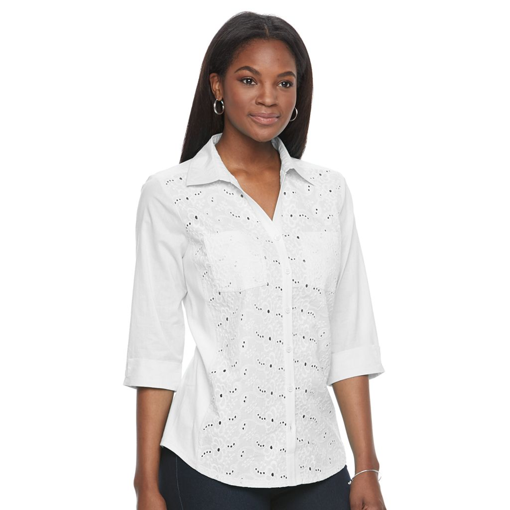 Women's Croft & Barrow® Eyelet-Front Top