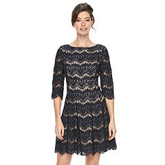 Women's Jessica Howard Scalloped Lace A-Line Dress
