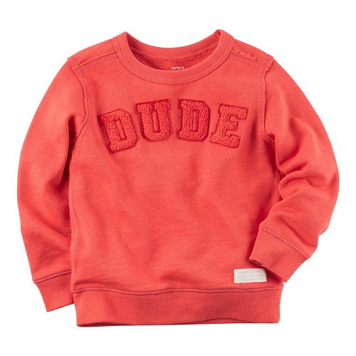 Toddler Boy Carter's Textured Text Applique French Terry Crewneck Pullover