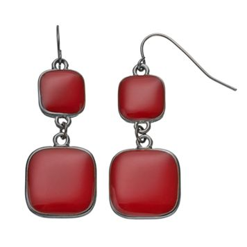 Red Double Square Drop Earrings