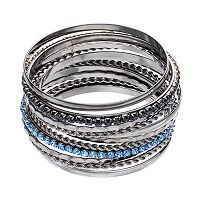 Blue Stone Textured Bangle Bracelet Set
