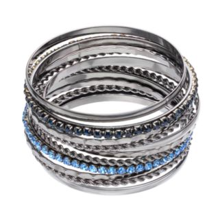 Blue Stone Textured Bangle Bracelet Set