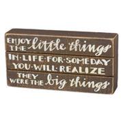 'Enjoy The Little Things' Box Sign Art