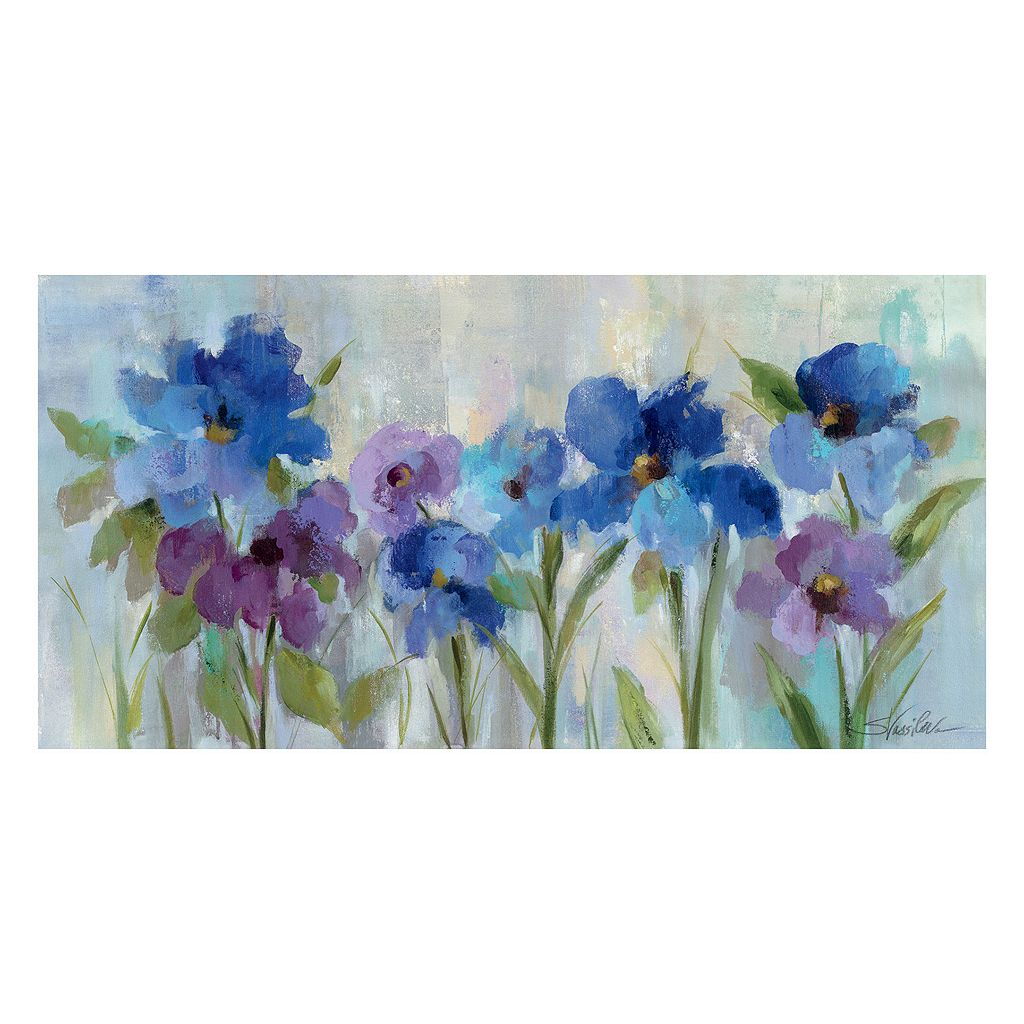 Artissimo Bold Blue Flowers Canvas Wall Art