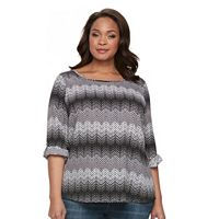 Plus Size Croft & Barrow® Crepe Print Top