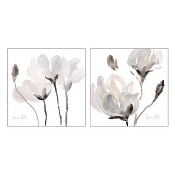 Artissimo Tonal Magnolias Canvas Wall Art 2-piece Set