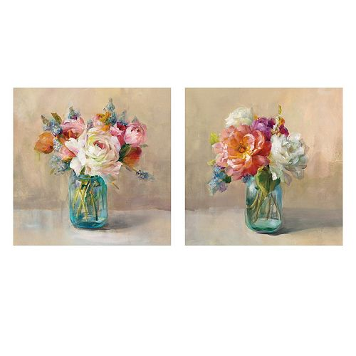Artissimo Cottage Bouquet Canvas Wall Art 2-piece Set