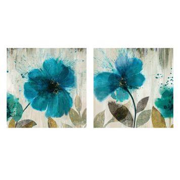Artissimo Teal Splash Canvas Wall Art 2-piece Set