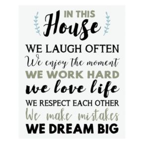 """Artissimo """"In This House"""" Canvas Wall Art"""