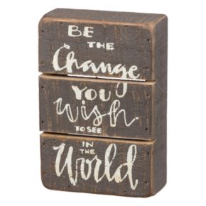 """Be The Change"" Box Sign Art"