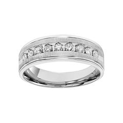 Simply Vera Vera Wang Men's 14k White Gold 1/2 Carat T.W. Diamond Wedding Band