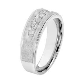 Simply Vera Vera Wang Men's 14k White Gold 1/2 Carat T.W. Diamond Wedding Band