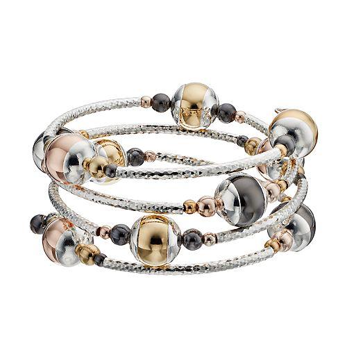 Metallic Beaded Coil Bracelet