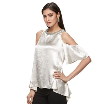 Women's Jennifer Lopez Cold-Shoulder Handkerchief Top