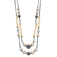 Tri Tone Long Beaded Double Strand Necklace