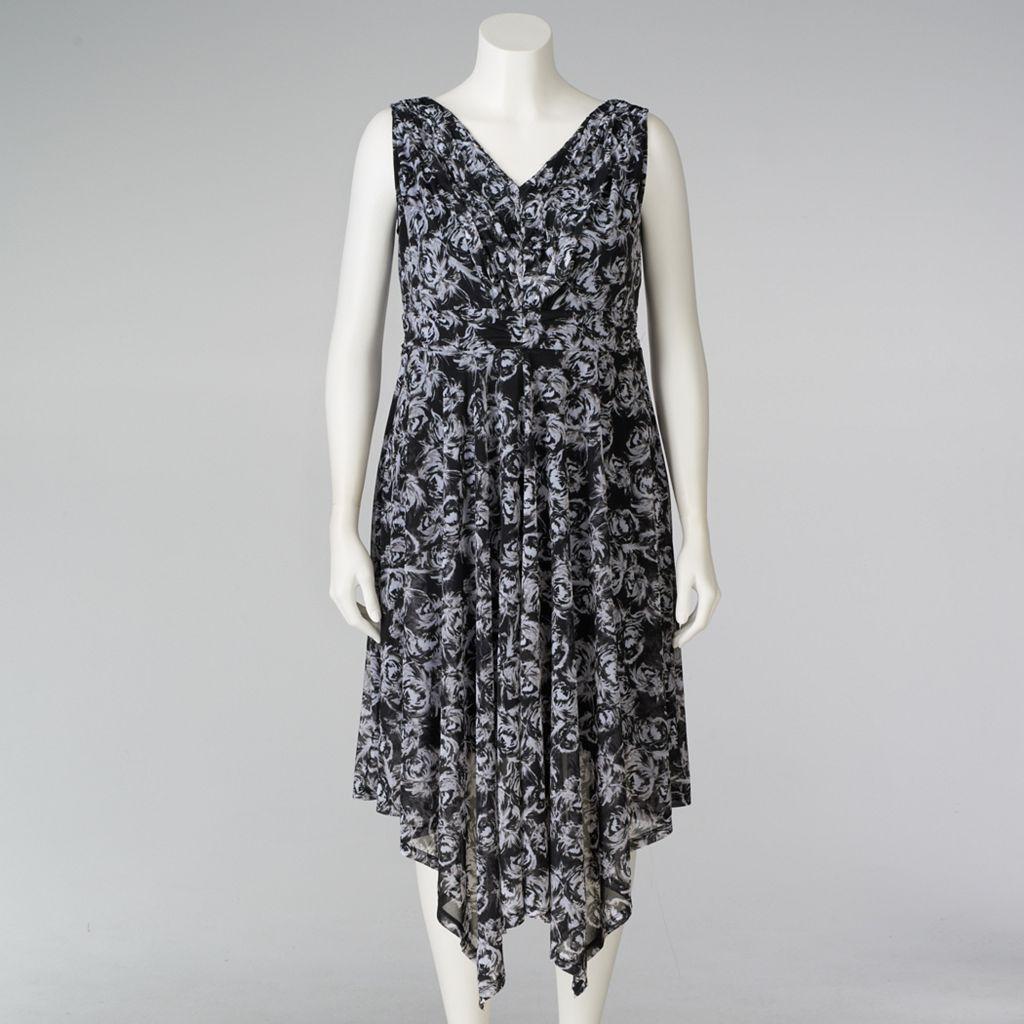 Plus Size Simply Vera Vera Wang Pleated A-Line Dress