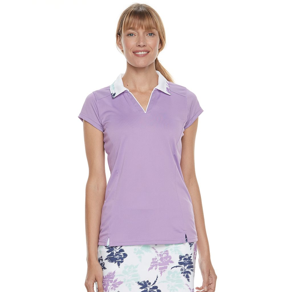 Women's Pebble Beach Print Collar Cap Sleeve Top