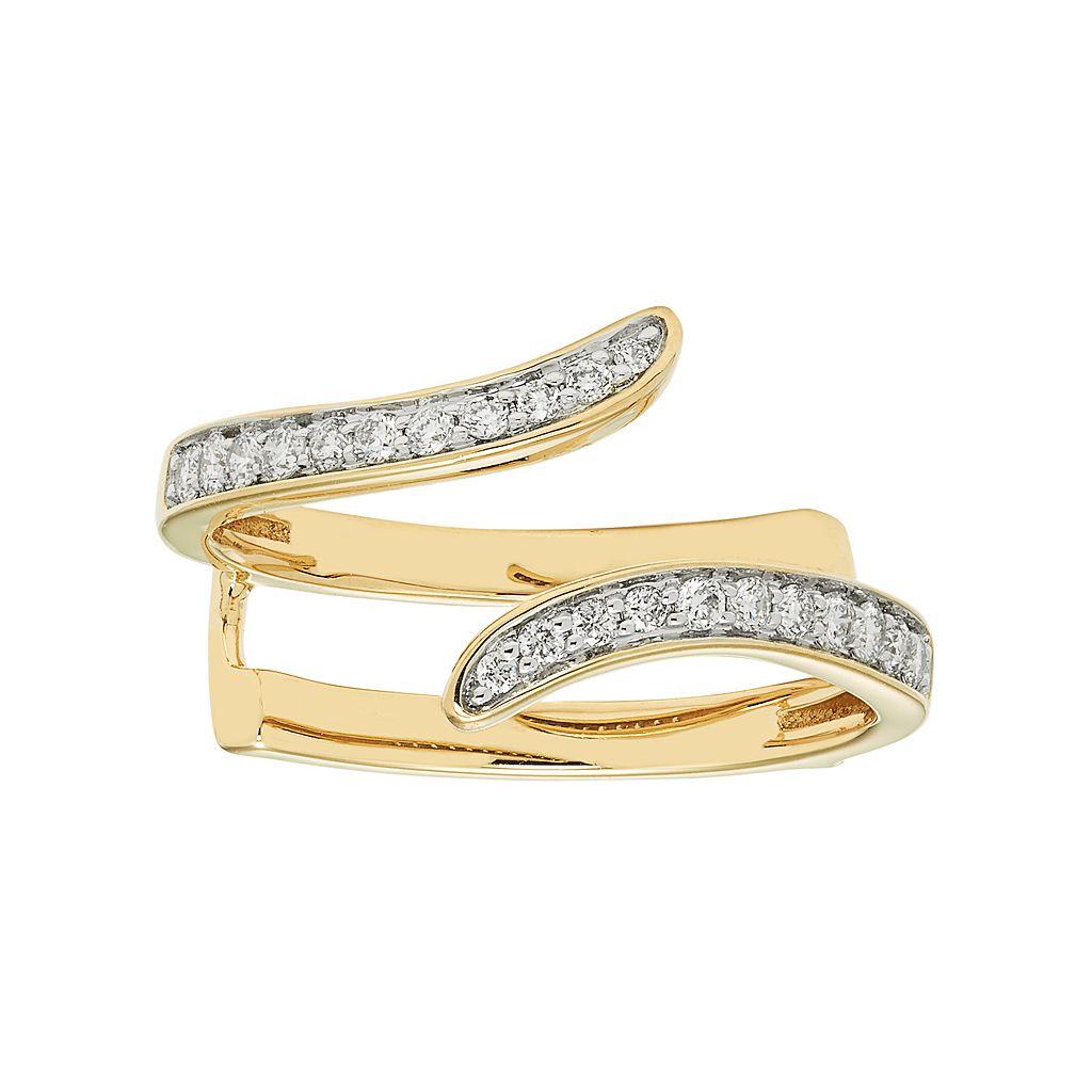 14k Gold 1/4 Carat T.W. Diamond Bypass Enhancer Wedding Ring