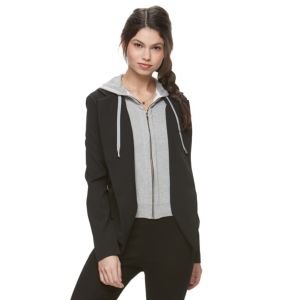 Juniors' Jolie Vie Mock-Layer Hooded Blazer