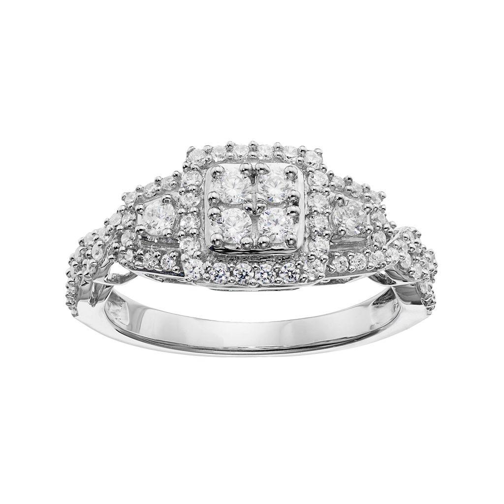 Simply Vera Vera Wang 14k White Gold 5/8 Carat T.W. Diamond Cluster Halo Ring