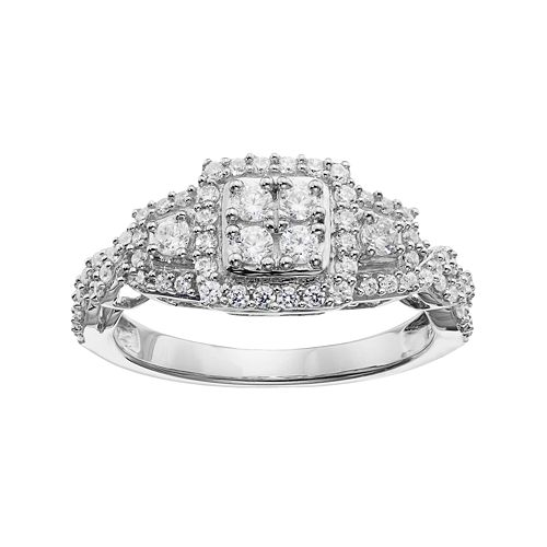 Simply Vera Vera Wang 14k White Gold 5/8 Carat T.W. Diamond Cluster Halo Ring