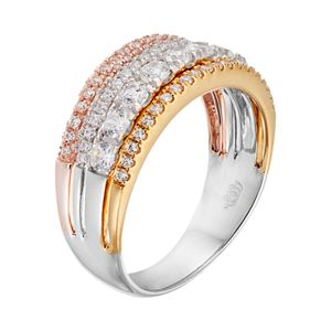 Simply Vera Vera Wang Tri Tone 14k Gold 1 Carat T.W. Diamond Multi Row Anniversary Ring