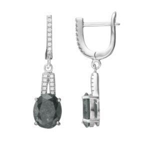 Sterling Silver Ice Cubic Zirconia Oval Drop Earrings