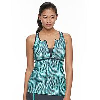 Women's Free Country Printed Quarter-Zip Tankini Top
