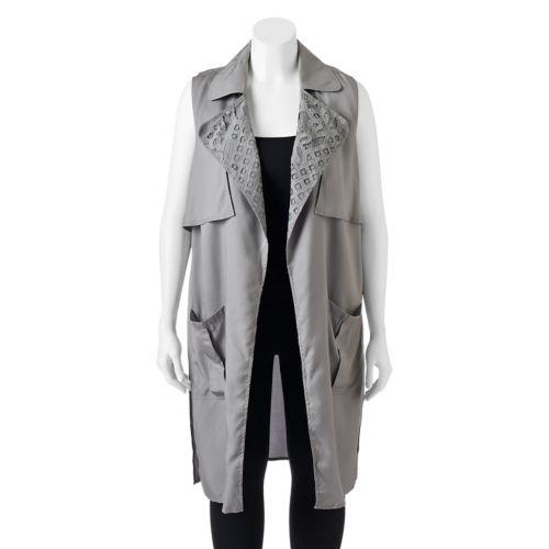 Juniors' Plus Size Candie's® Draped Long Vest