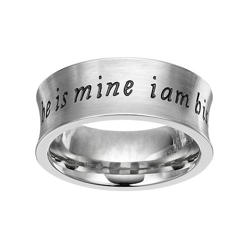 """Stainless Steel """"He is Mine, I am His"""" Ring"""