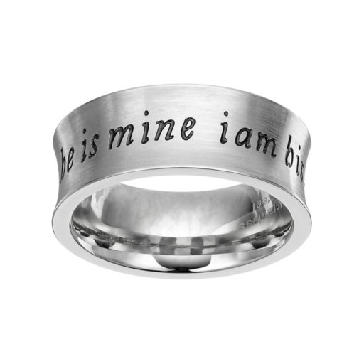 "Stainless Steel ""He is Mine, I am His"" Ring"