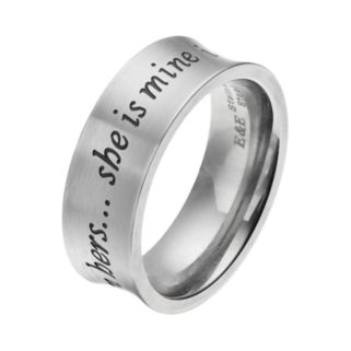 "Men's Stainless Steel ""She is Mine, I am Hers"" Ring"