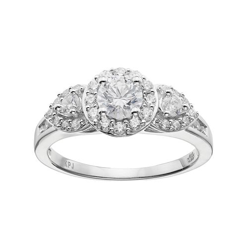 Simply Vera Vera Wang 14k White Gold 1 Carat T.W. Diamond 3-Stone Halo Engagement Ring