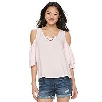 Juniors' SO® Crisscross Cold-Shoulder Top