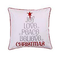 Sleigh Bells Love Joy Peace Throw Pillow