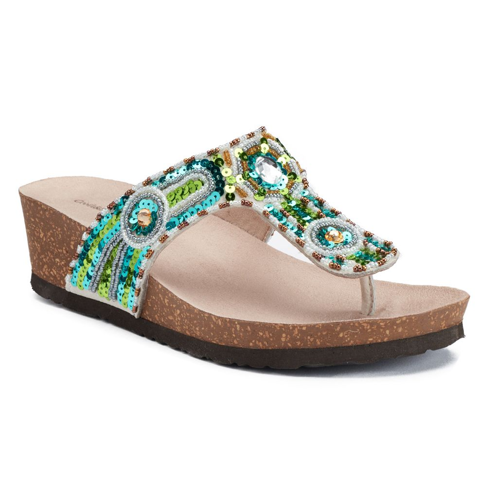 Croft & Barrow® Women's Ortholite Beaded Wedge Sandals