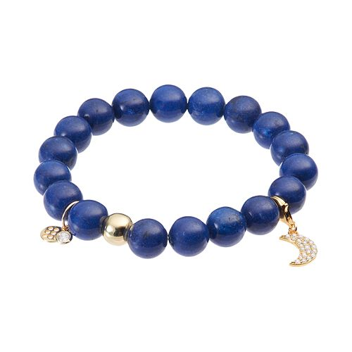 TFS Jewelry 14k Gold Over Silver Blue Jade Bead & Cubic Zirconia Moon Charm Stretch Bracelet